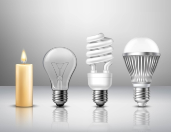 Light Evolution Concept Realistic light evolution concept from candle to modern led bulb on glassy surface isolated vector illustration