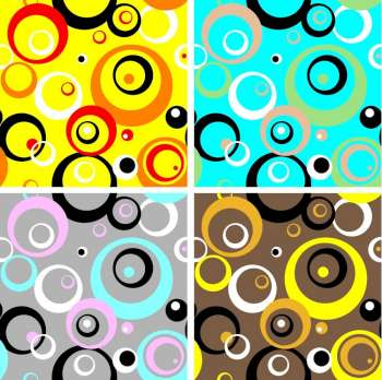 Seventies wallpaper design with four different color variations