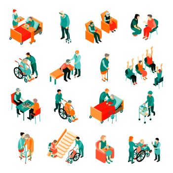 Isometric set of elderly people in different situations and medical staff in nursing home isolated vector illustration Elderly People Nursing Home Is