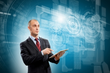 Media technologies Image of businessman with tablet pc against media background