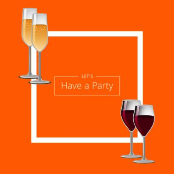 You Searched For Vector Illustration Of Glassware With Winery And Frame On Banner Party Drinks Red Wine And Champagne Glasses Set