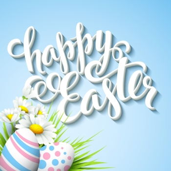Easter greeting with eggs and flowers Vector illustration Easter greeting Vector illustration