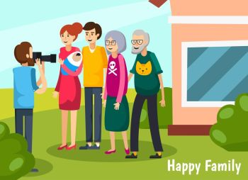 Aged Elderly People Flat Composition Colored aged elderly people flat composition with happy family headline and full big family come together vector
