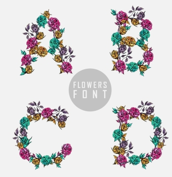 Vector colorful flower font Can be used banners invitation congratulation or website layout vector