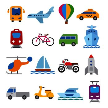 set of illustrations for concept icons of transport transport icons set