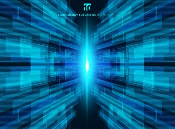 Abstract blue virtual technology concept futuristic digital perspective background with space for your text Vector illustration