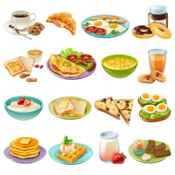 Breakfast Brunch Menu Food Icons Set Breakfast brunch healthy start day options food realistic icons collection with coffee and fried eggs isolated v