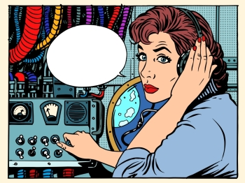 Girl radio space communications with astronauts pop art retro style The mission control center Manager flights Science fiction space and planets G