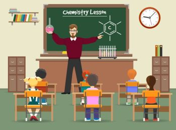 You searched for a vector illustration of kids studying in a science lab