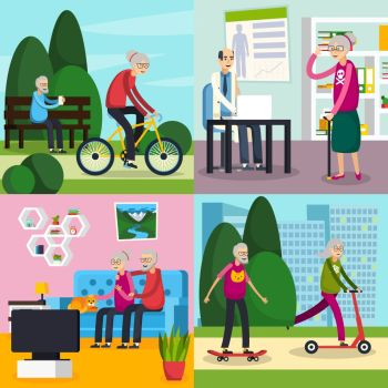 Aged Elderly People Orthogonal Composition Set Four square aged elderly people orthogonal composition set with old people spend their free time vecto