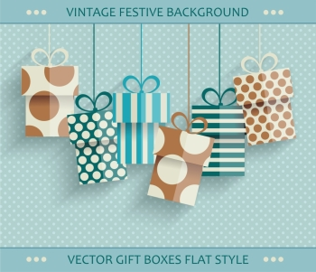 Vintage retro happy birthday card with gift boxes