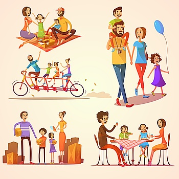 Family Retro Cartoon Set Family retro cartoon set with celebrations holidays and activities isolated vector illustration