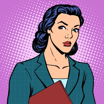 Businesswoman successful woman pop art retro style Businesswoman successful woman