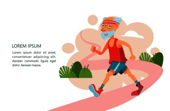 Older people lead an active lifestyle An elderly man engaged in Jogging in the fresh air Vector illustration