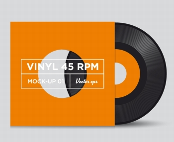 Vinyl record 45 RPM with cover mock up