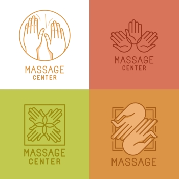 Vector set of linear emblems and logo design elements related to massage and relaxation  mono line signs and concepts for salons and centers