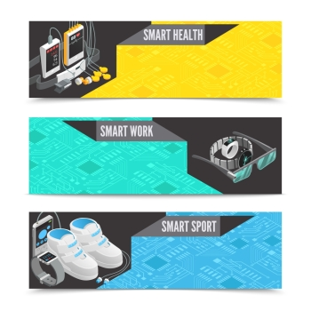 Wearable technology banners Wearable technology horizontal banners with smart isometric gadgets vector illustration