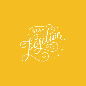Vector illustration with hand lettering phrase in linear style for motivational poster or greeting card  stay positive