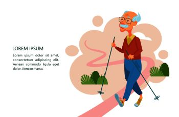 Older people lead an active lifestyle Old people play sports An elderly man engaged in Nordic walking He walks along the path with sticks Vector i