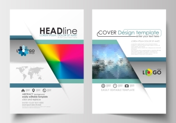 Business templates for brochure magazine flyer booklet or annual report Cover design flat layout in A4 format Abstract triangles blue triangula