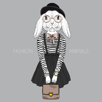 anthropomorphic design fashion illustration of bunny girl hipster