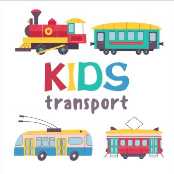 Children s transport collection Vector illustration Isolated on white background A large set of railway transport