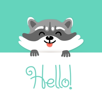 Cute raccoon tell you hello Vector illustration Cute raccoon says hello to you