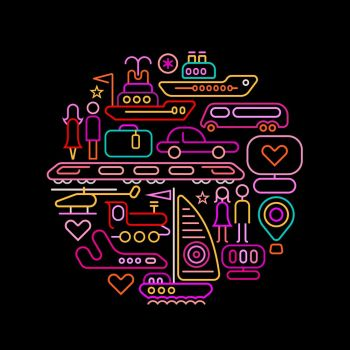 Neon colors Travel and Transport round shape vector illustration isolated on a black background