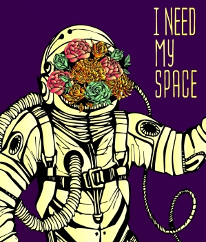 Space concept with astronaut Quote Background and flowers typography Cosmic poster