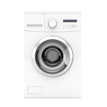 Front view of washing machine on white background 3d image