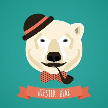 Animal polar bear with smoking pipe hat and moustache hipster portrait vector illustration