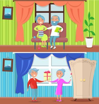 Happy Older People at Home Set of Illustrations Happy older people at home set of vector illustrations Couples spending time together in their cosy