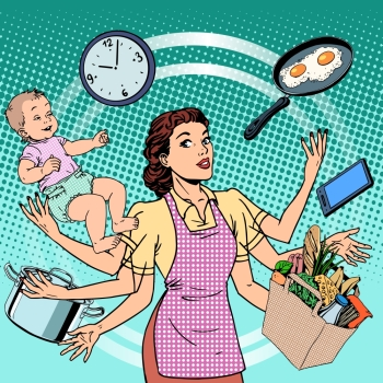 Housewife work time family success woman pop art retro style A woman plans the time and manages to do everything around the house Child care work v