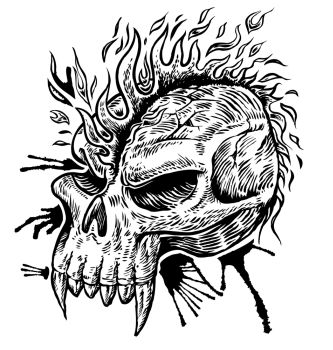 Skull Hand Draw With Flame