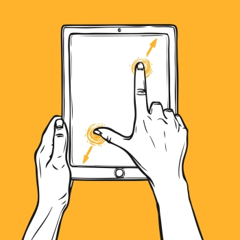 Hand holding tablet gadget and pinch gesture sketch on orange background vector illustration