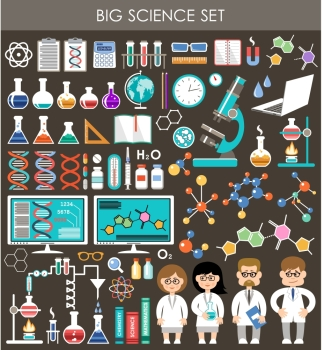 Big science set Infographics Flat design style Vector illustration