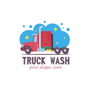 Emblem truck car wash Vector illustration in cartoon style The truck in the water droplets and the foam on the wash