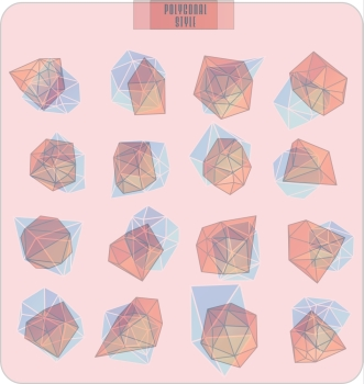 Abstract polygonal label design transparent elements Hipster background Cosmic style low poly illustration