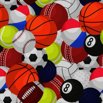 You Searched For Sport Ball Seamless Pattern Sporting Equipment Balls Texture Game Baseball Football Basketball Tennis Rugby Cartoon