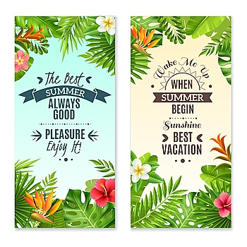 Tropical Plants 2 Colorful Vacation Banners Summer vacation in tropical rainforest 2 vertical banners with hibiscus and bird paradise plants flowers