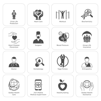 Medical and Health Care Icons Set Flat Design Isolated Medical and Health Care Icons Set Flat Design