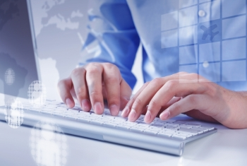 Working on pc Hands of businessman working with keyboard and mouse