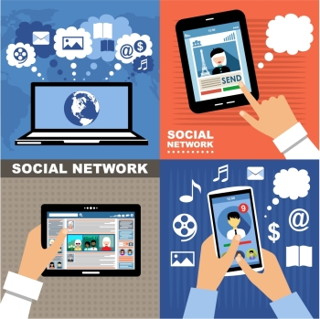 The concept of social networks blogs and online communication Vector illustration