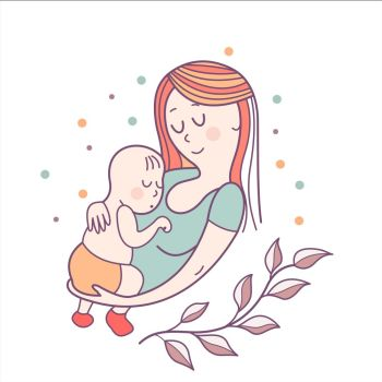 Greeting card mother s day A pretty mother holds cute baby Linear illustration Vector emblem The floral pattern