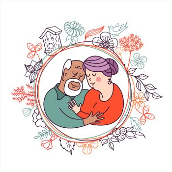 Happy day of the older person An elderly couple husband and wife hugging each other Cute vector illustration of a greeting card