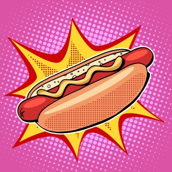 Hot dog fast food vector pop art retro style Restaurants and street food Sausage in the bun with mustard Healthy and unhealthy food Menu comic sty