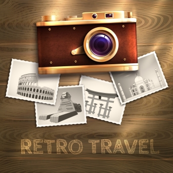 Retro travel poster with vintage camera and photo cards on wooden table background vector illustration