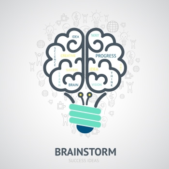 Idea brainstorm design concept with creative vision symbols in lightbulb brain shape vector illustration