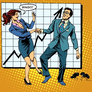 Bingo financial success dance business pop art retro style Man and woman happily dancing Graph of growth and profit Bingo financial success dance