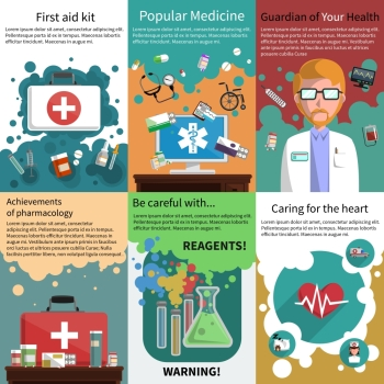 Various medicine pharmacy and healthcare subjects mini poster multicolored set isolated vector illustration Mini medicine poster muliticolored set